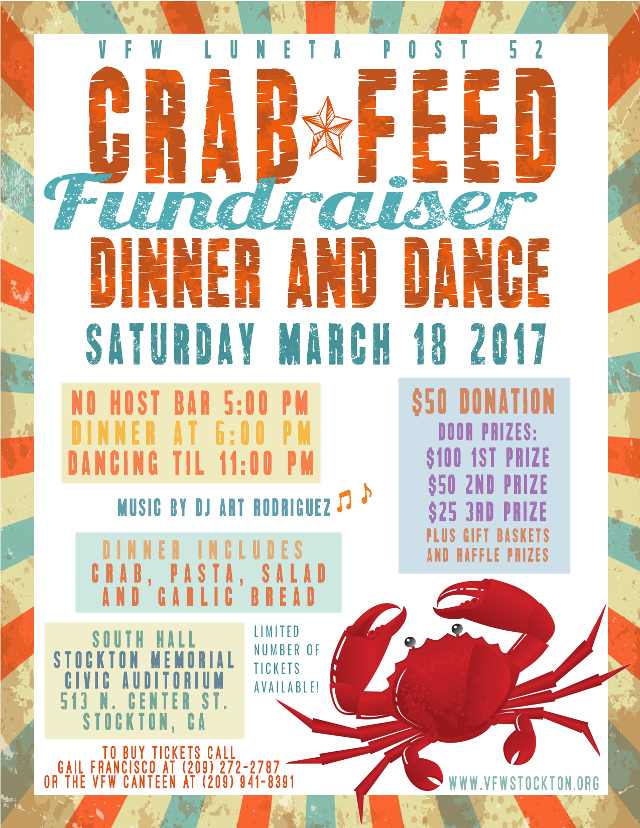 vfw crab feed dinner dance fundraiser events visit stockton